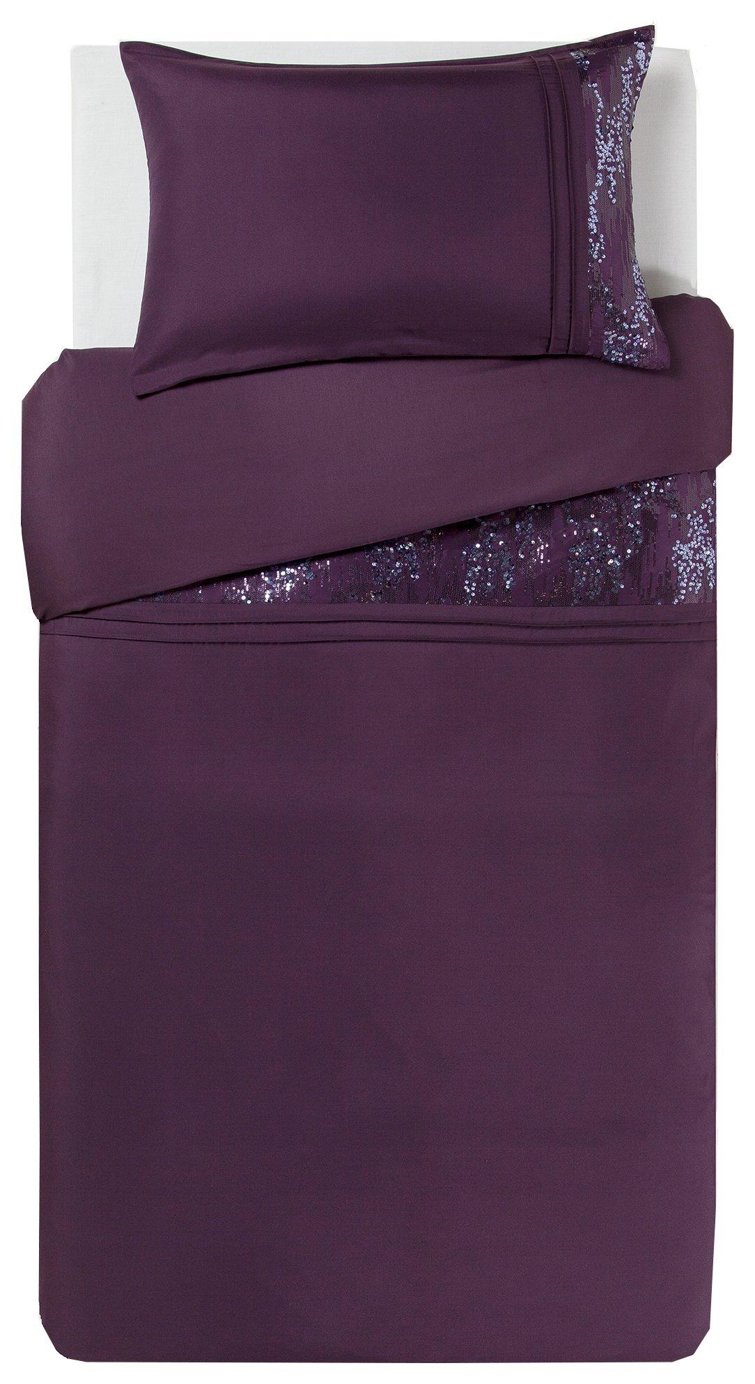 collection purple sequin panel bedding set  single