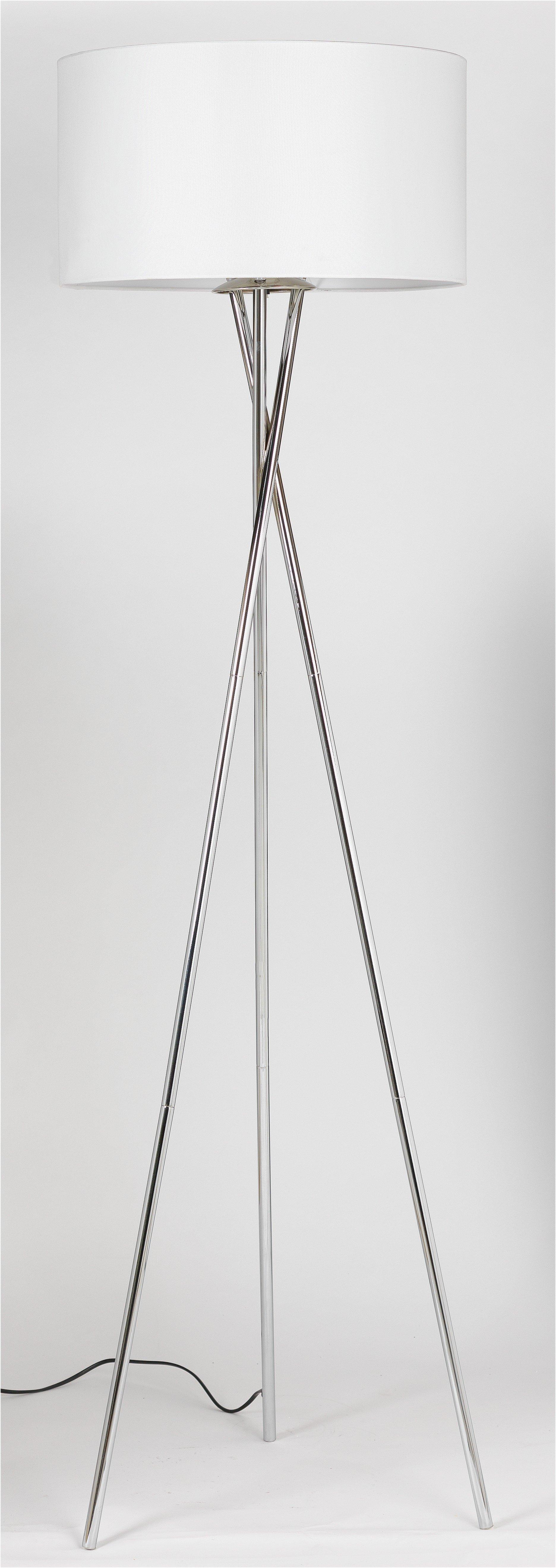 hygena chrome tripod floor lamp white