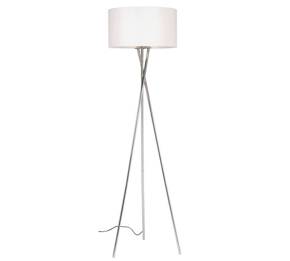 Buy Hygena Chrome Tripod Floor Lamp - White & Chrome | Floor lamps ...
