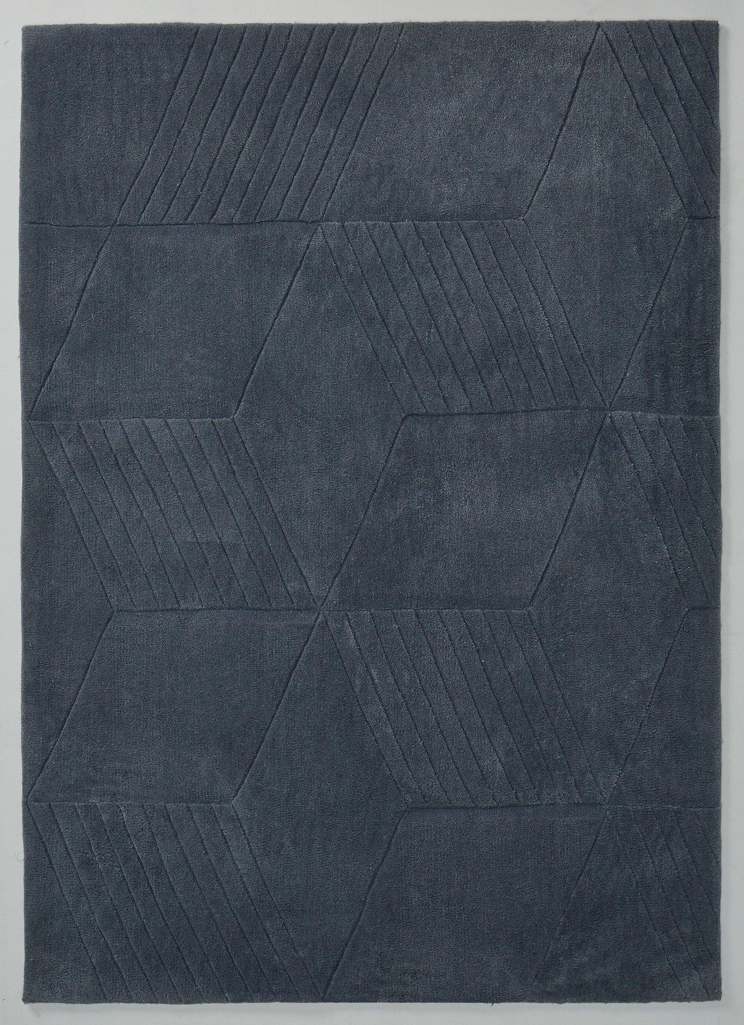 Hygena Lawson Geometric Rug - 160x230cm - Steel Blue