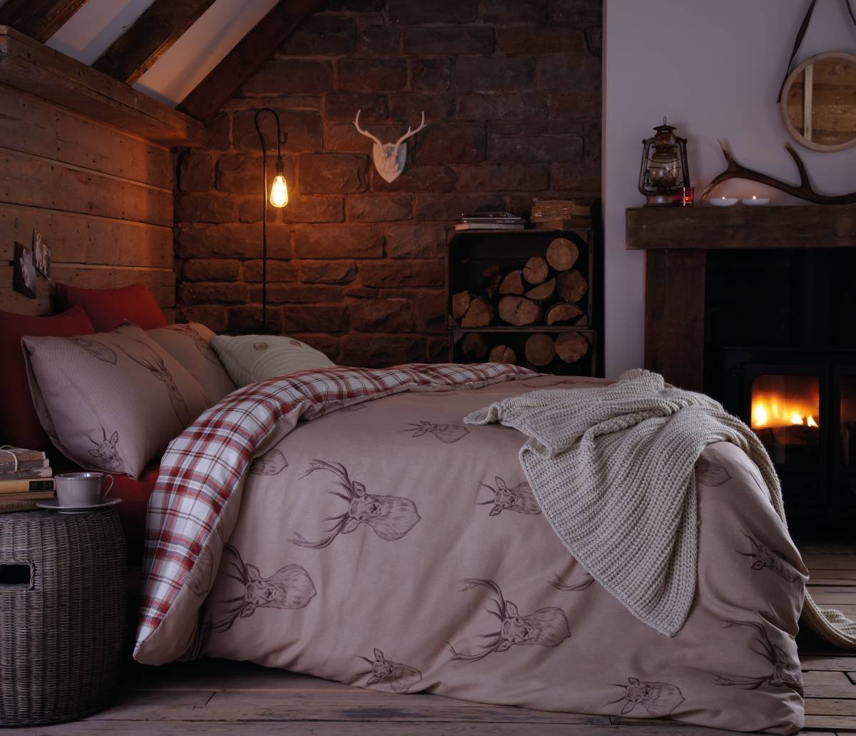 catherine lansfield natural stag duvet cover set  double.