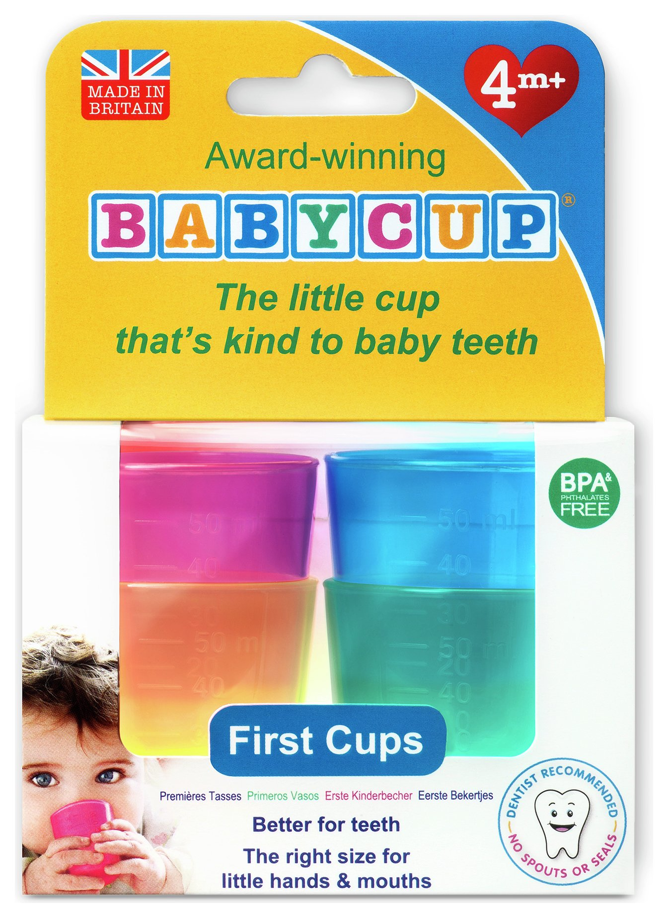 Image of Babycup Baby and Toddler First Cup - 4-Pack Multicoloured