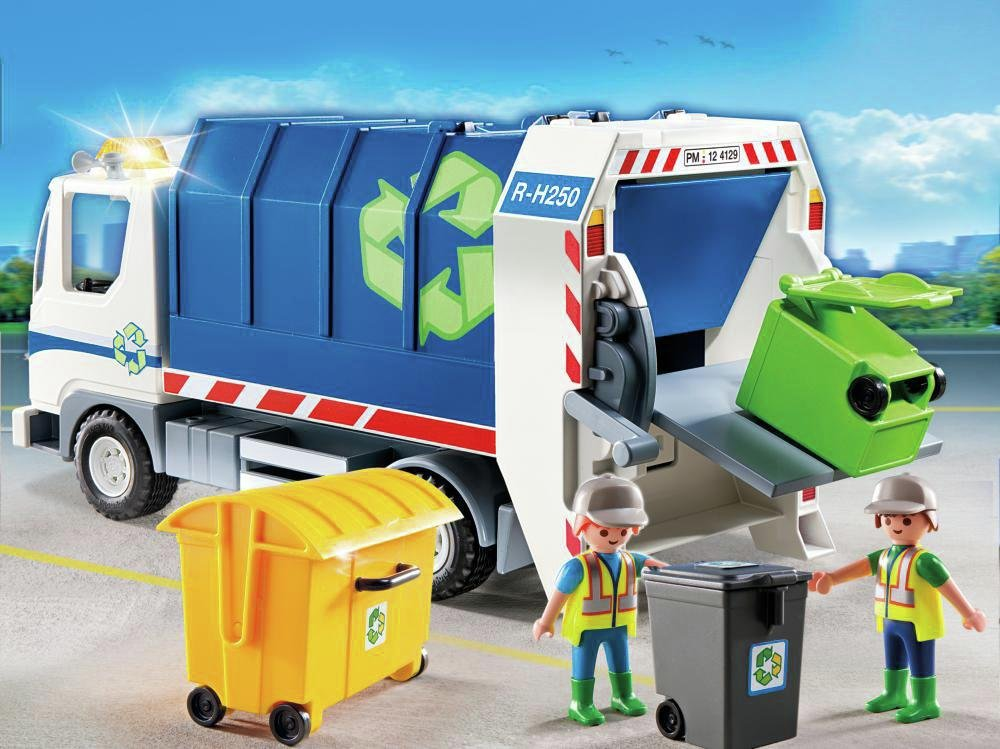 playmobil  4129 recycling truck with flashing light.