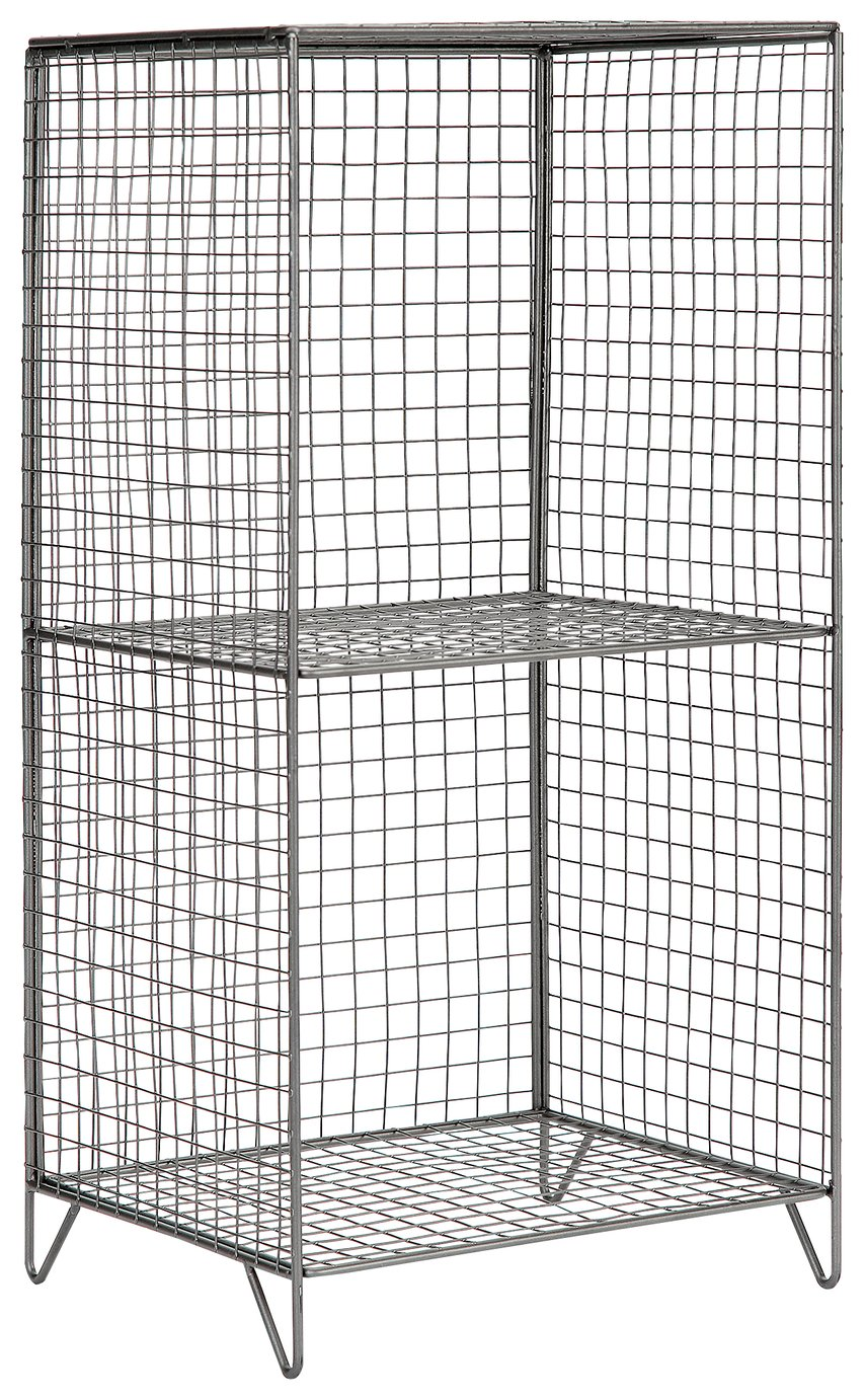 Image of Collection 2 Tier Metal Tall Storage Unit - Grey