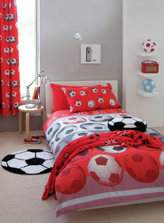 Catherine Lansfield Red Football Bedding Set - Single