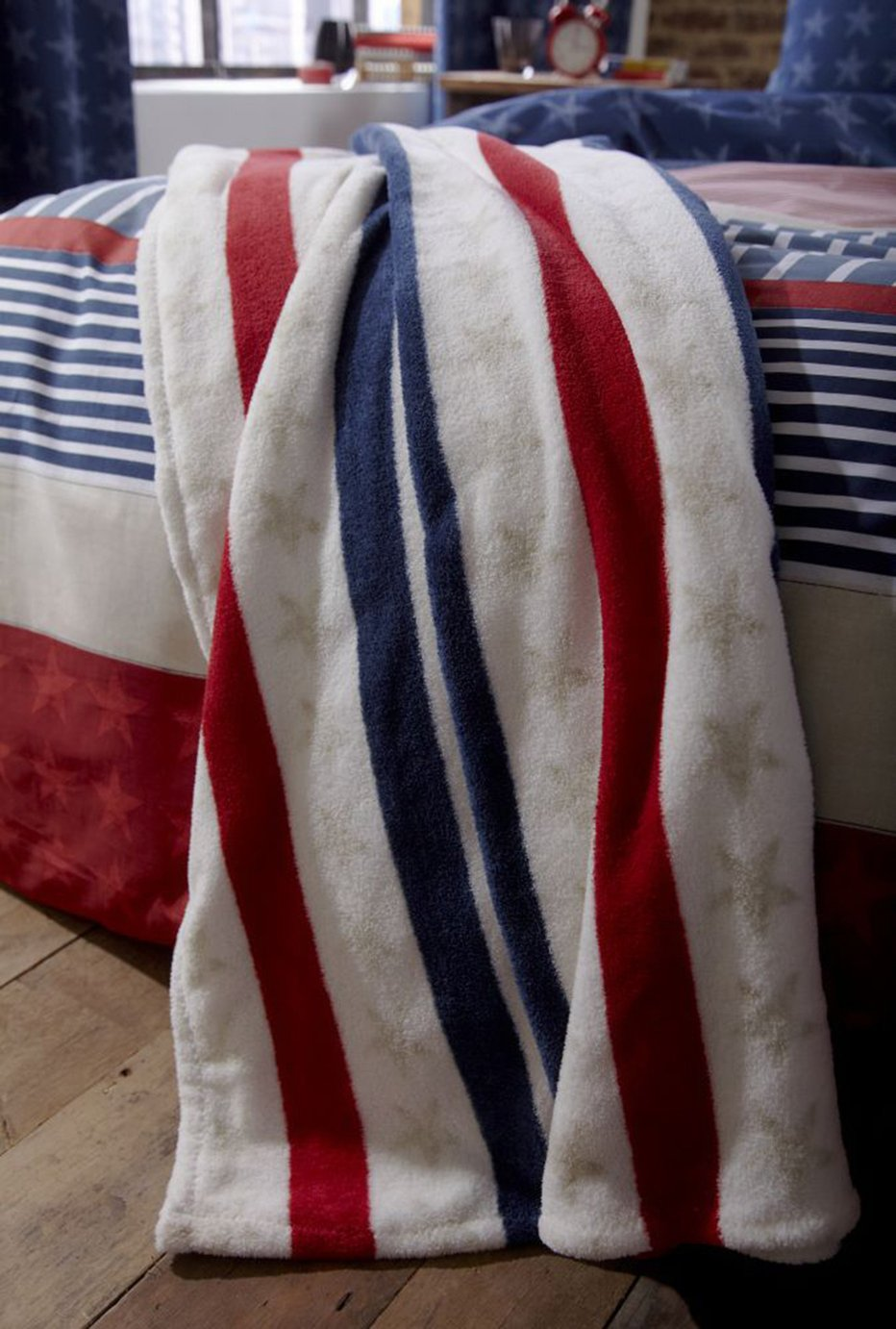catherine lansfield stars and stripes throw  multicoloured.