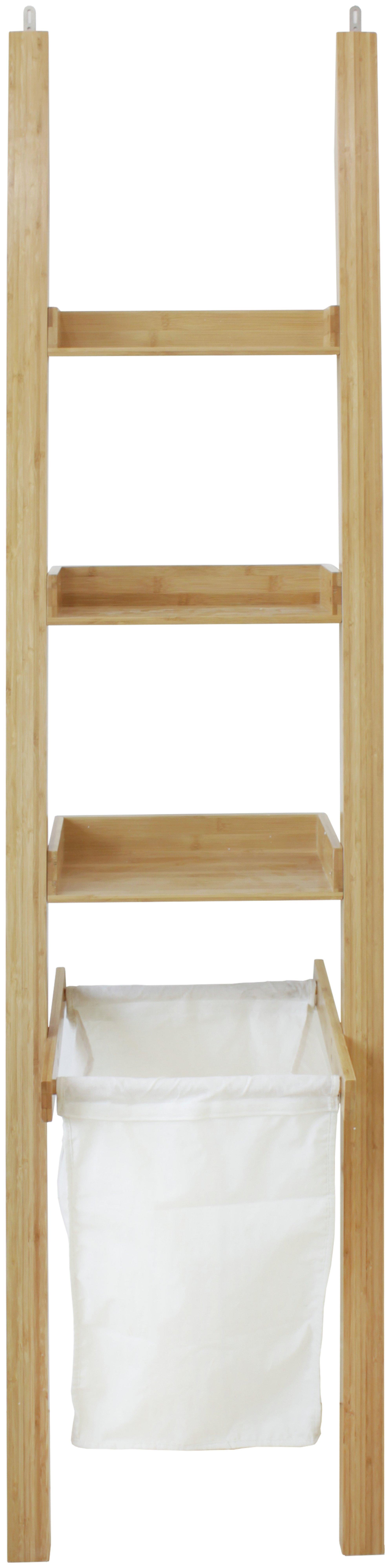Bamboo Wooden Leaning Ladder Shelf Unit W/ Laundry Bin ...