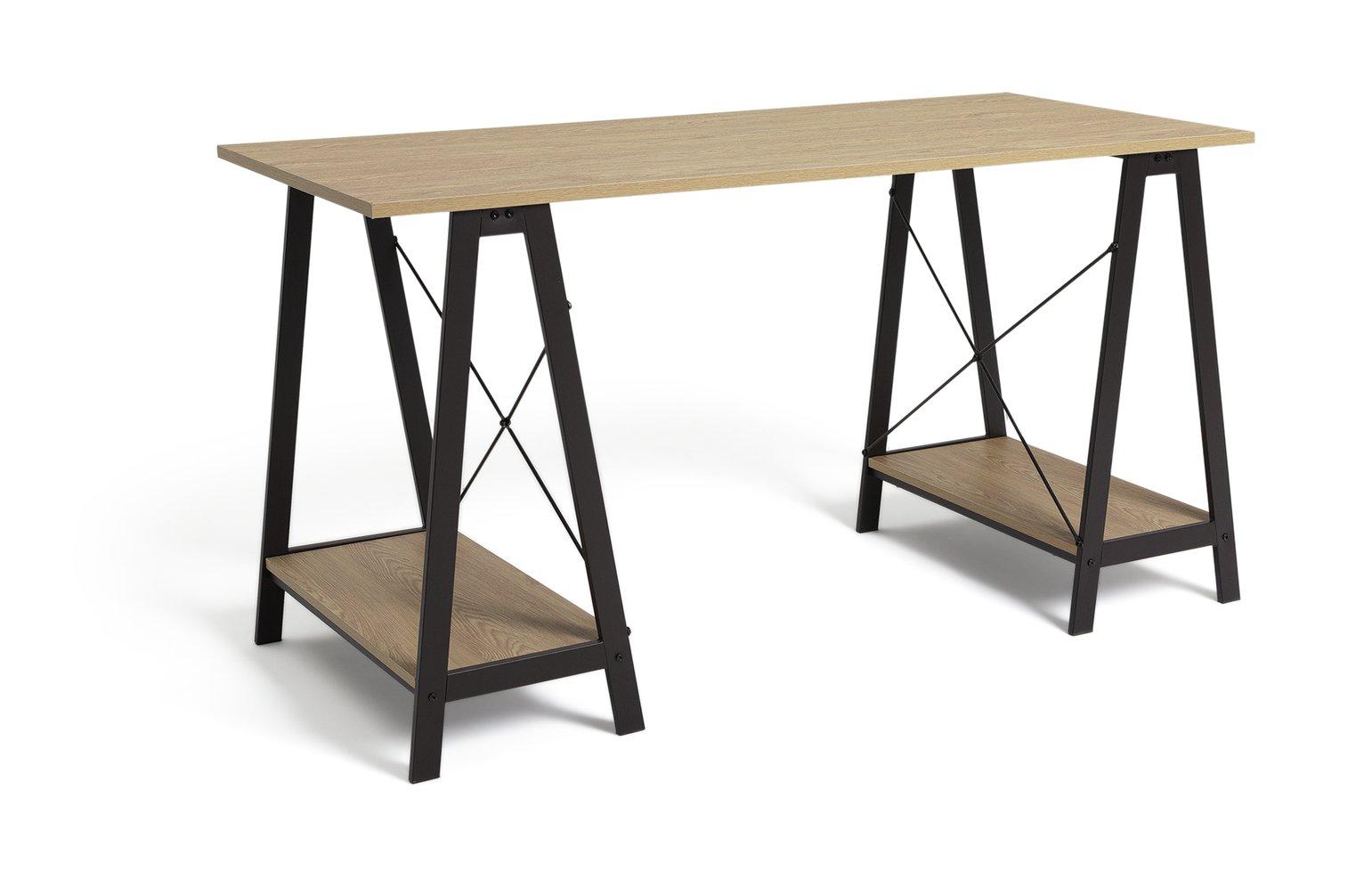 Habitat Trestle Table Office Desk - Oak effect