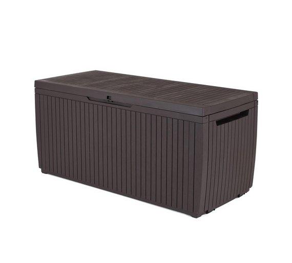 keter 305l springwood garden storage box brown - Garden Storeage Boxes