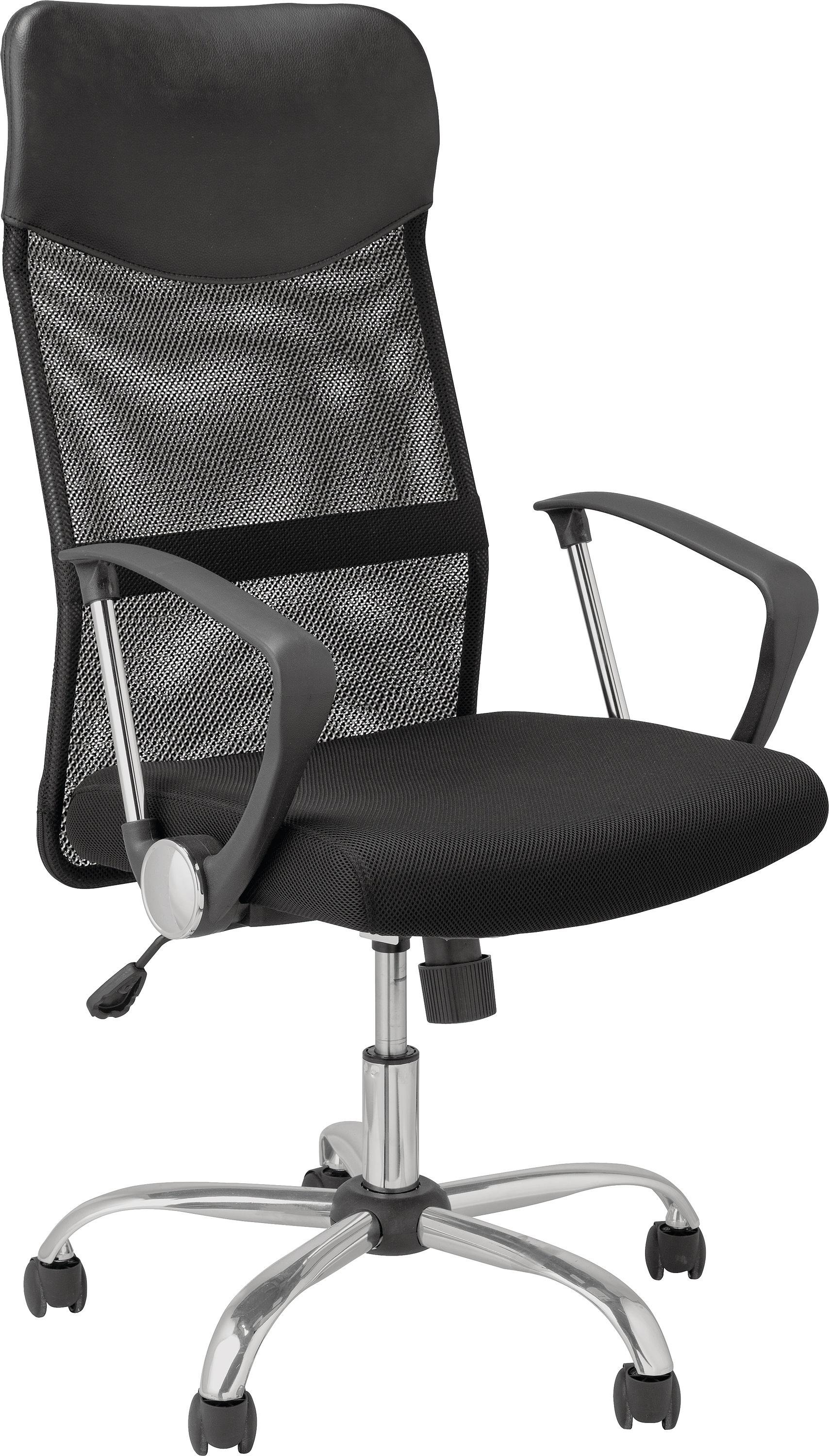 'Mesh & Leather Effect Headrest Adjustable - Office Chair-black