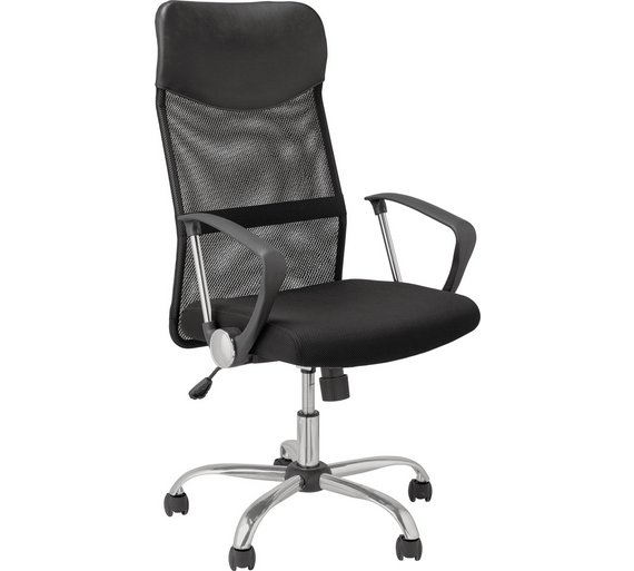 Buy HOME Mesh & Leather Effect Adjustable Office Chair - Black at ...