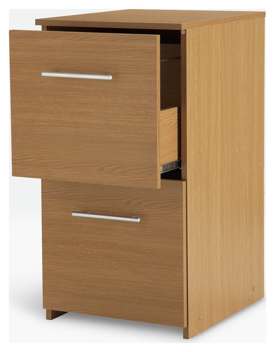 Image of 2 Drawer Filing Cabinet - Oak Effect