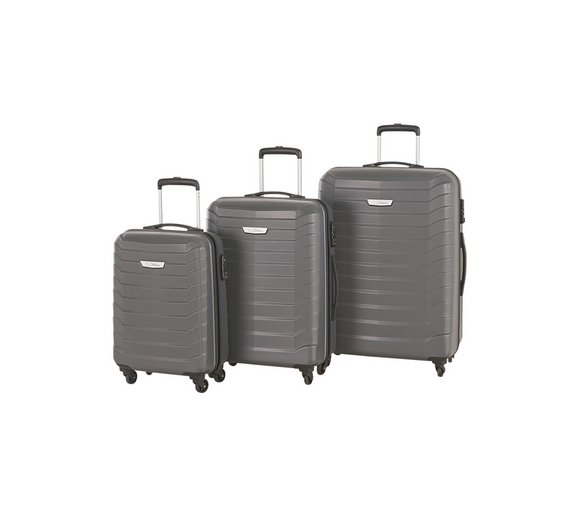 Buy Go Explore Ultra Light 4 Wheel Hard Medium Suitcase - Silver ...