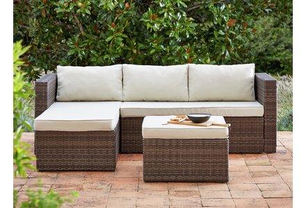 Image of the HOME 3 Seater Rattan Effect Mini Corner Sofa.