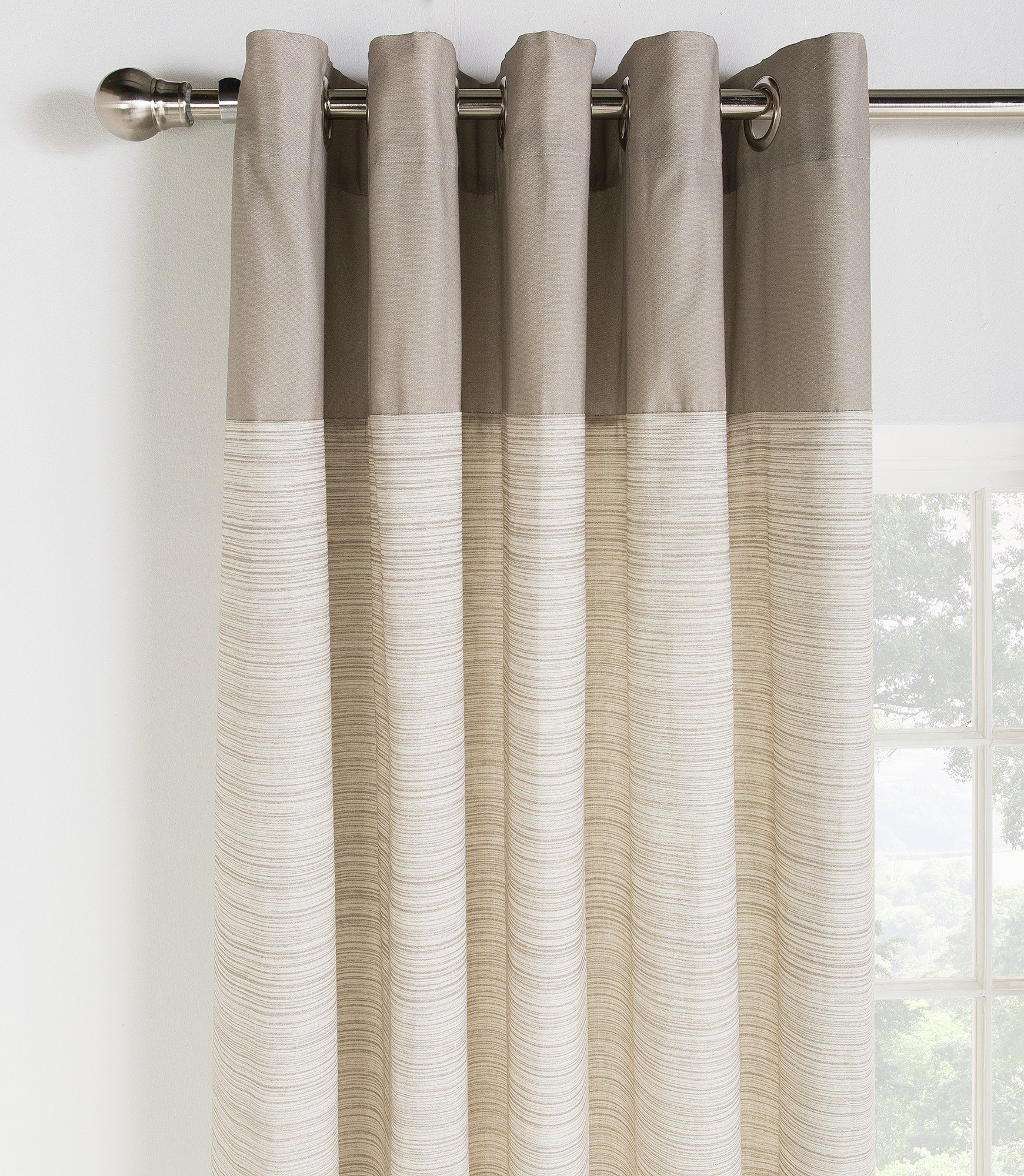 HOME Norfolk Unlined Eyelet Curtains - 117x137cm - Stone