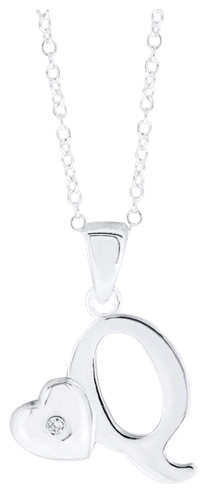 Image of Little Star Sterling Silver Initial Pendant - Q