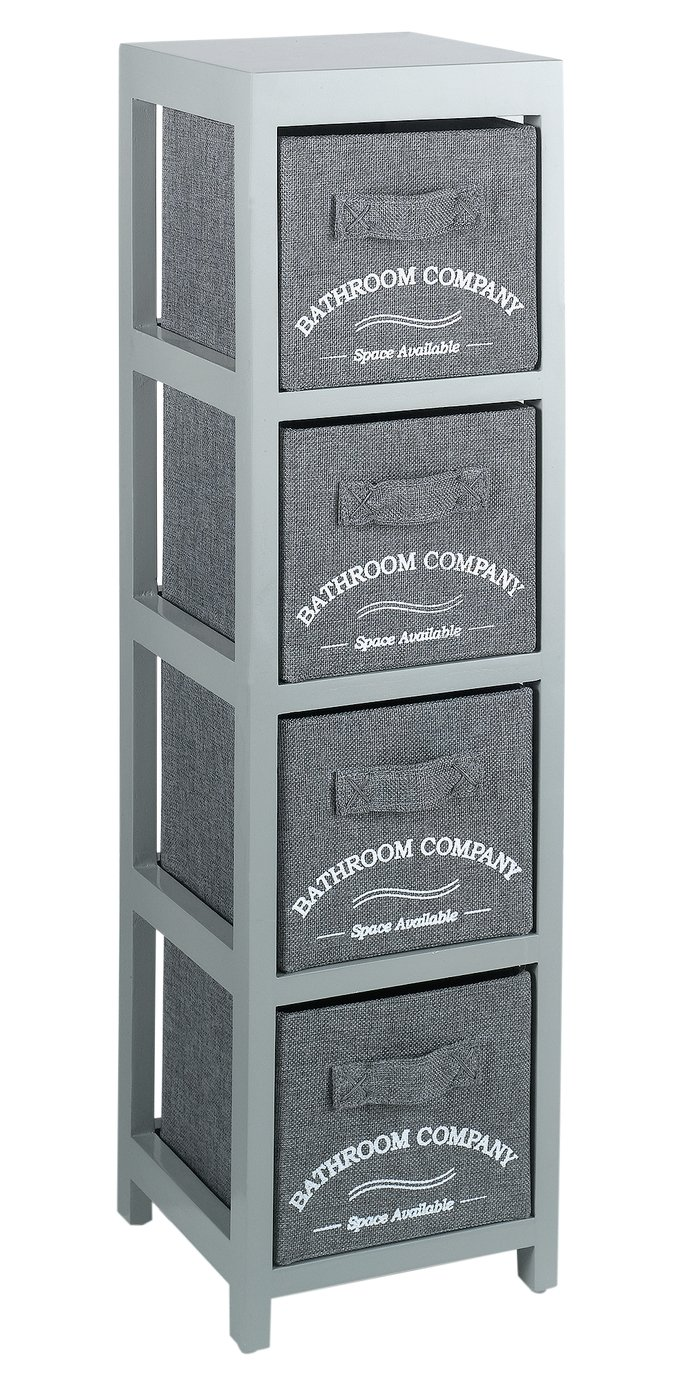 Image of Collection 4 Drawer Canvas Bathroom Storage Units - Grey