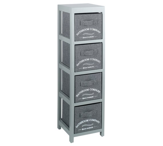 Collection 4 Drawer Canvas Bathroom Storage Units   Grey. Buy Collection 4 Drawer Canvas Bathroom Storage Units   Grey at