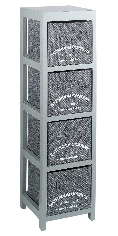 Collection 4 Drawer Canvas Bathroom Storage Units   Grey