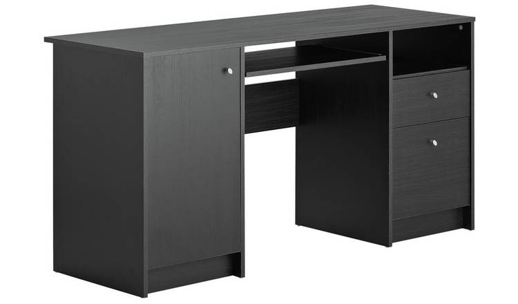 detailed look 498f0 59760 Buy Argos Home Calgary 2 Drawer Pedestal Office Desk - Black | Desks | Argos