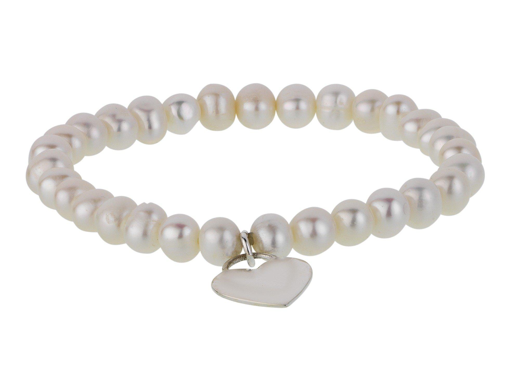Revere Sterling Silver Freshwater Pearl Heart Charm Bracelet