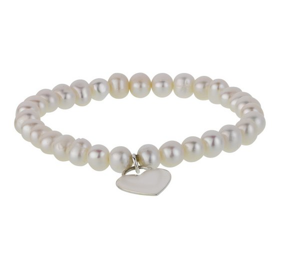 37a0973ec ... clearance revere sterling silver freshwater pearl heart charm bracelet  11934 990b4. pandora charms ...