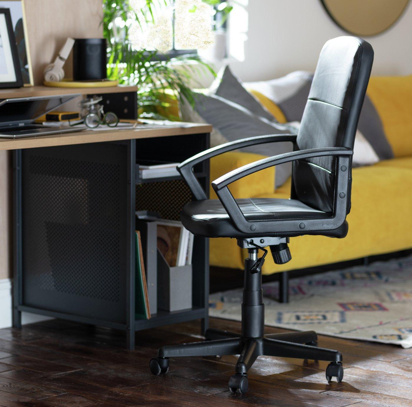 Habitat Brixham Faux Leather Office Chair - Black