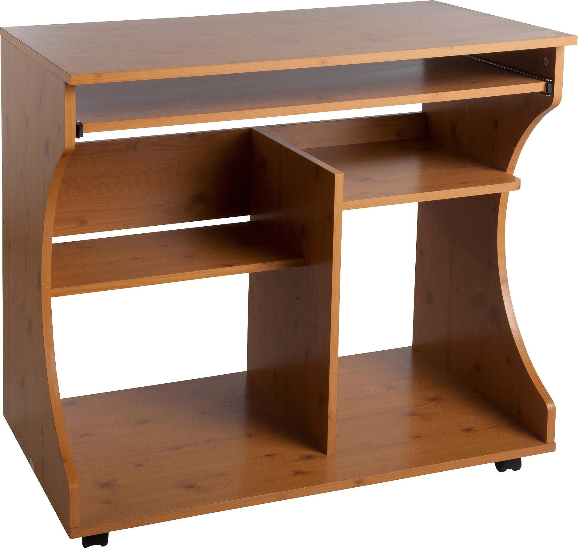 Buy HOME Curved Computer Desk Trolley Pine Effect at Argoscouk