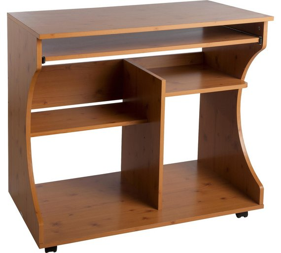 HOME Curved Computer Desk Trolley - Pine Effect