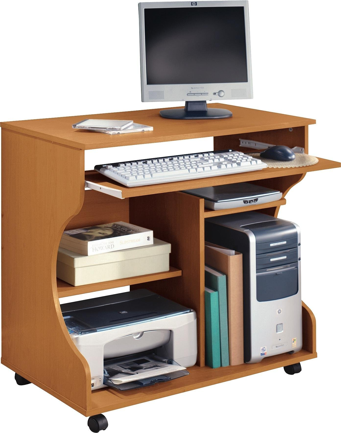 Home curved computer desk trolley pine effect