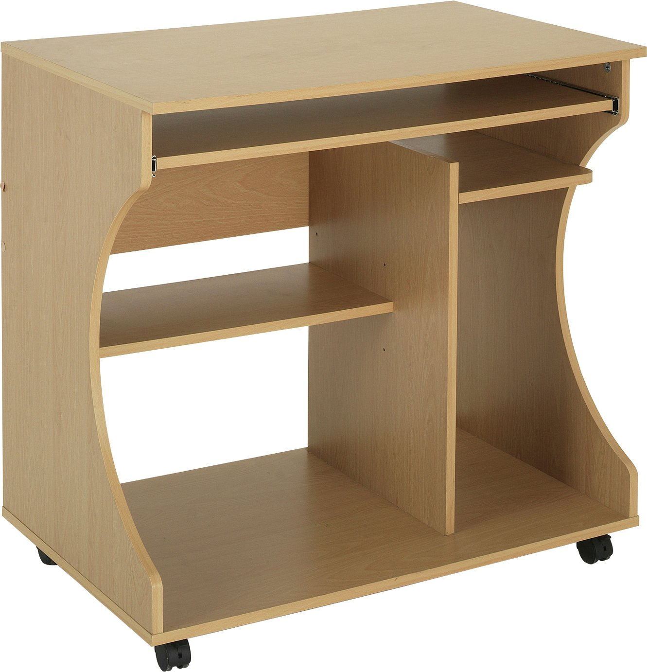 Buy Home Curved Computer Desk Trolley Beech Effect At