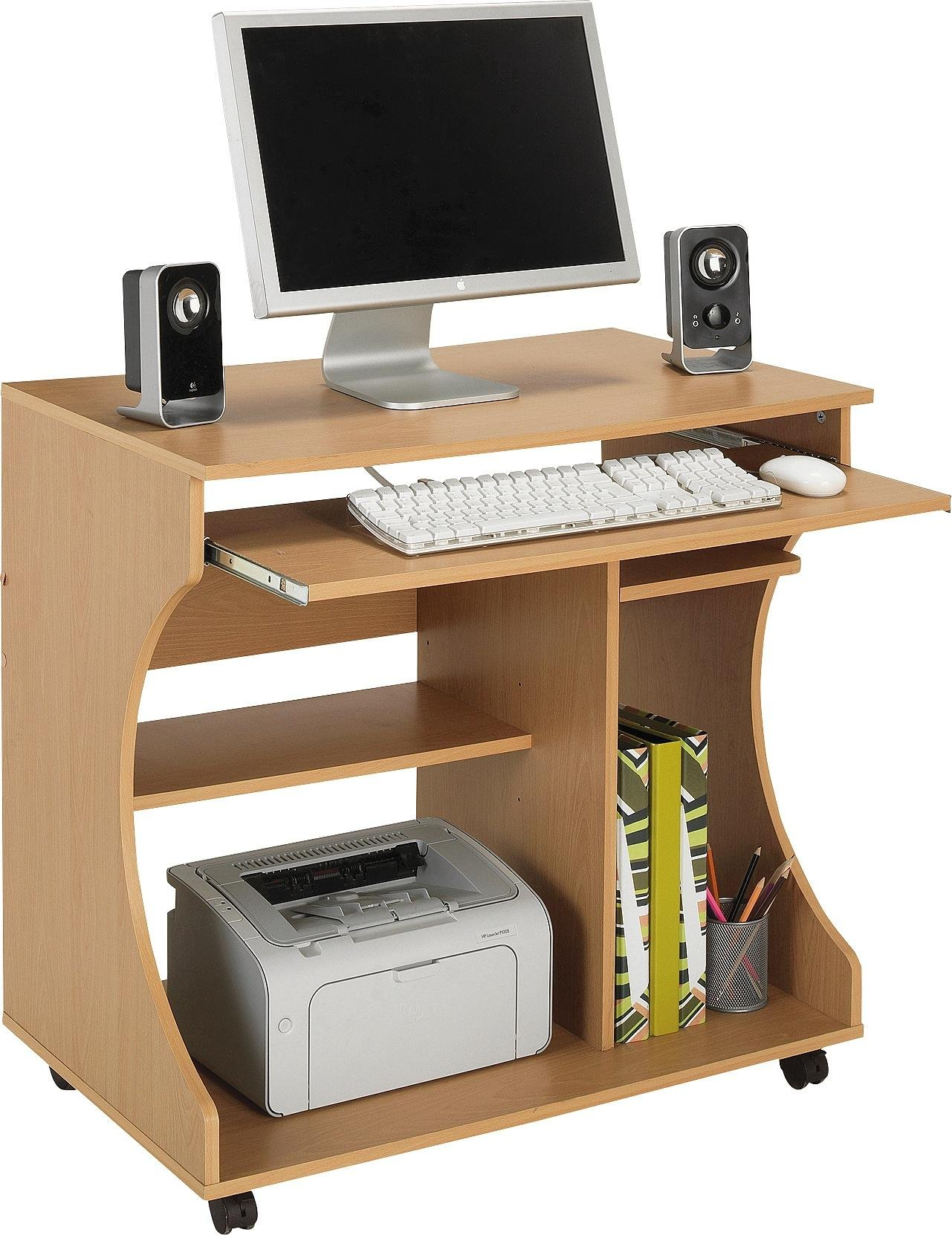buy home curved computer desk trolley beech effect at argos co uk your shop for desks