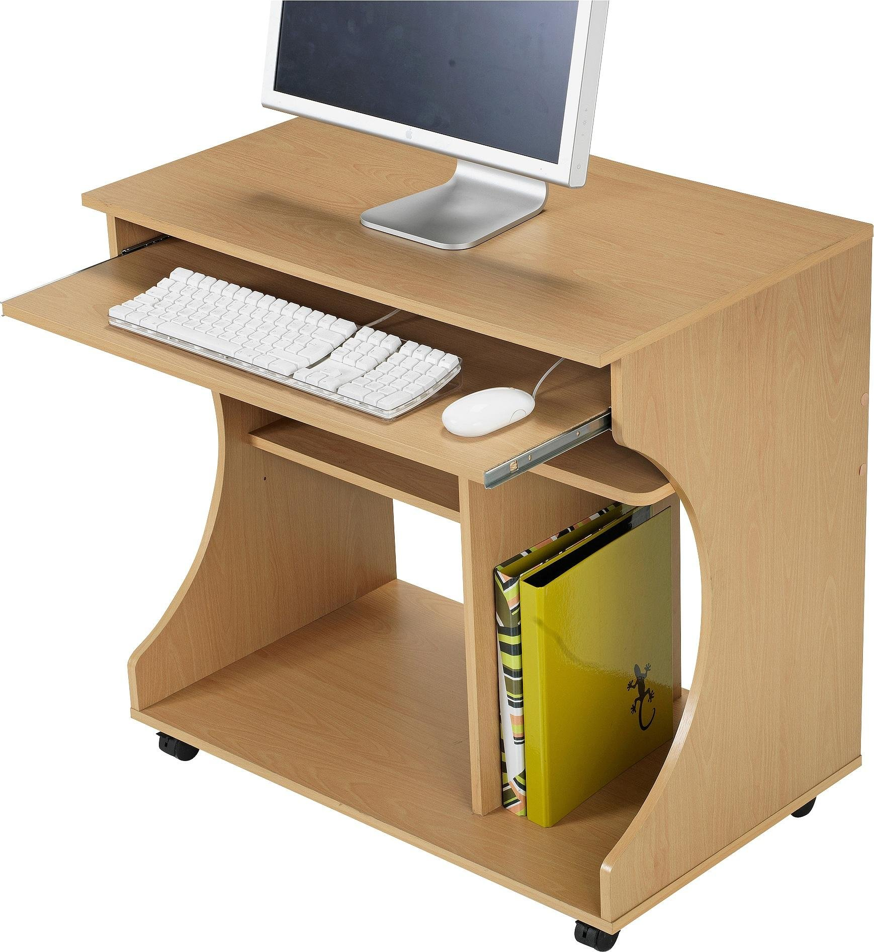 Buy HOME Curved Computer Desk Trolley Beech Effect at Argosco