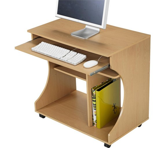 Buy Home Curved Computer Desk Trolley Beech Effect At Your Online Shop For Desks