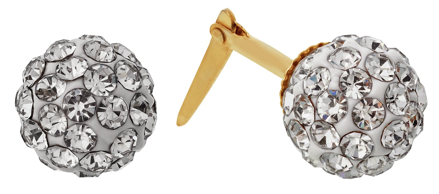 Image of Andralok 9ct Gold White Crystal Ball Stud Earrings