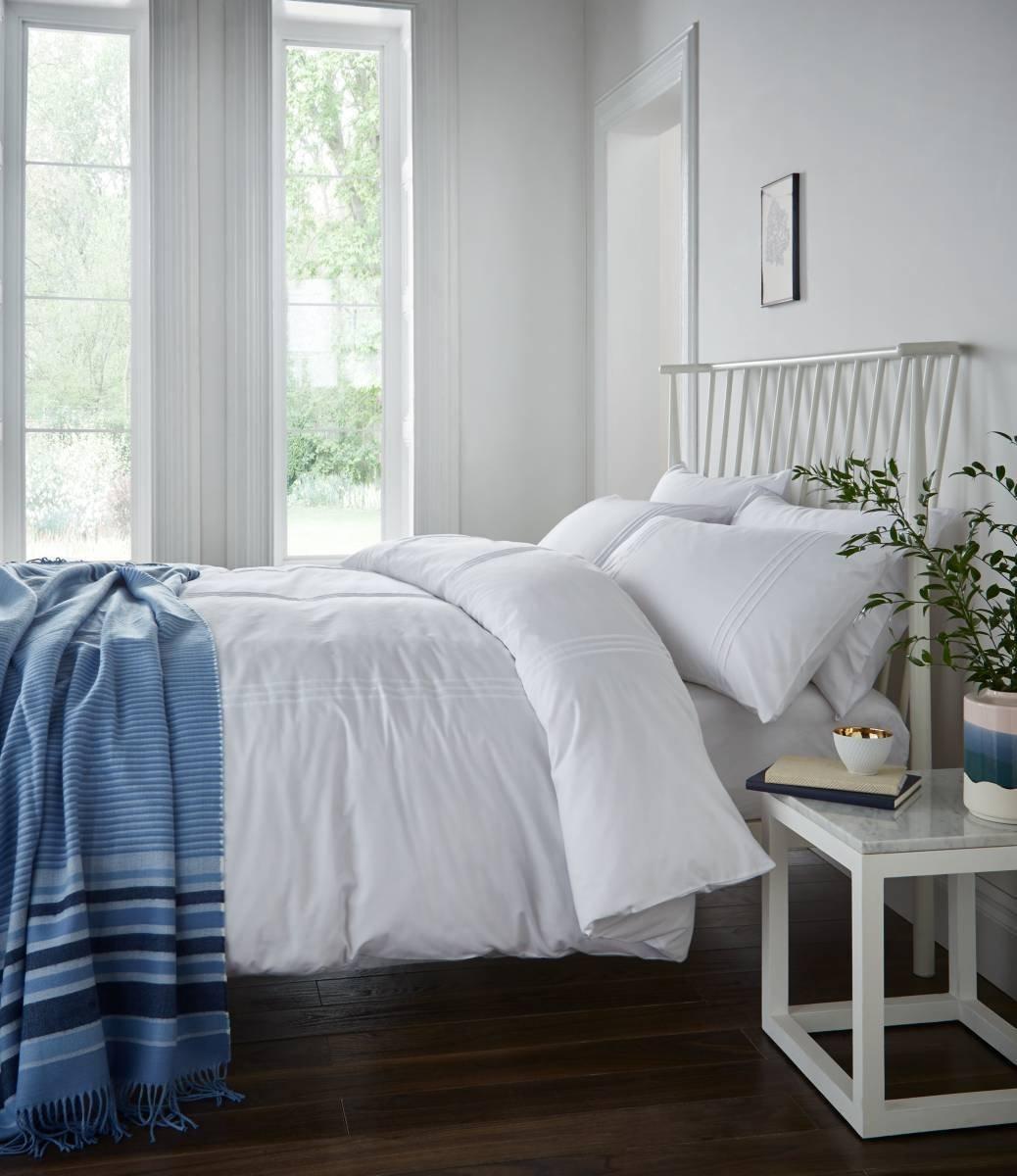 catherine lansfield minimalist white bedding set  single