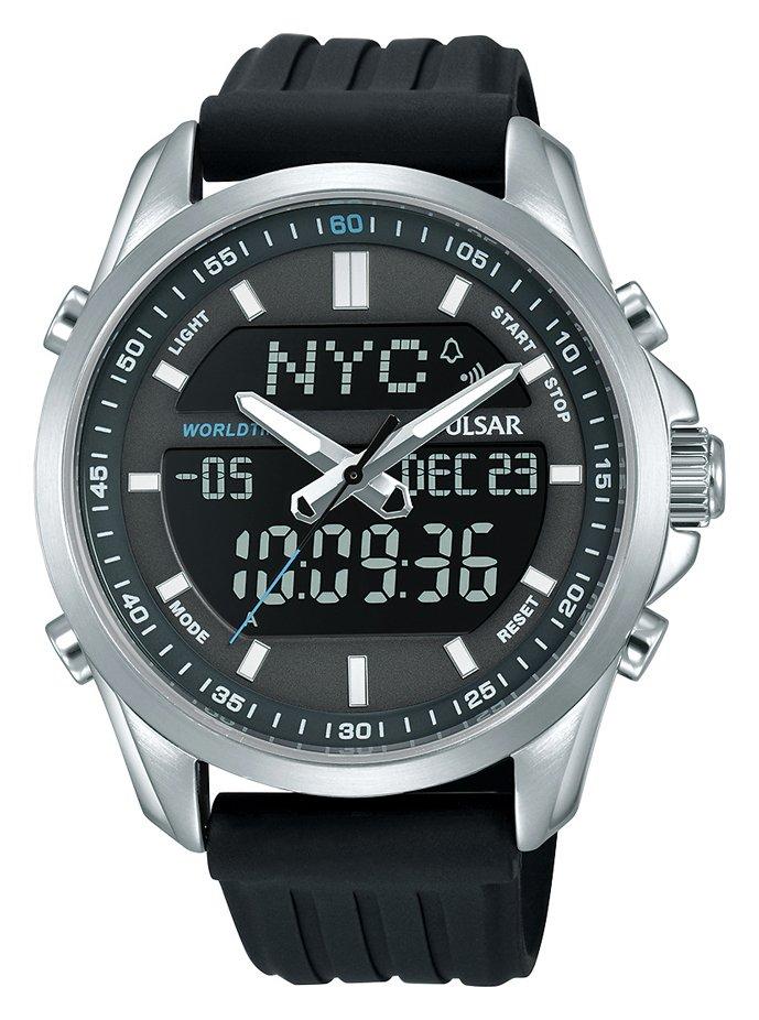 Pulsar Men's Black Polyurethane Digital Watch