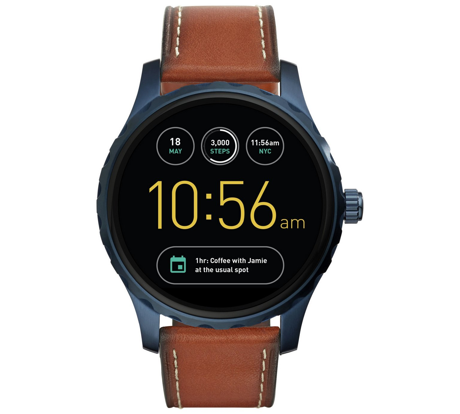 Image of Fossil - Q Marshal Brown Leather Strap Smart - Watch