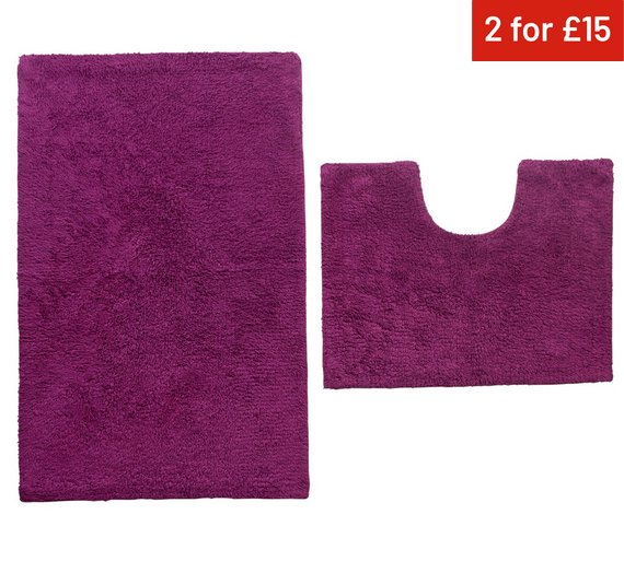 colourmatch bath and pedestal mat set grape