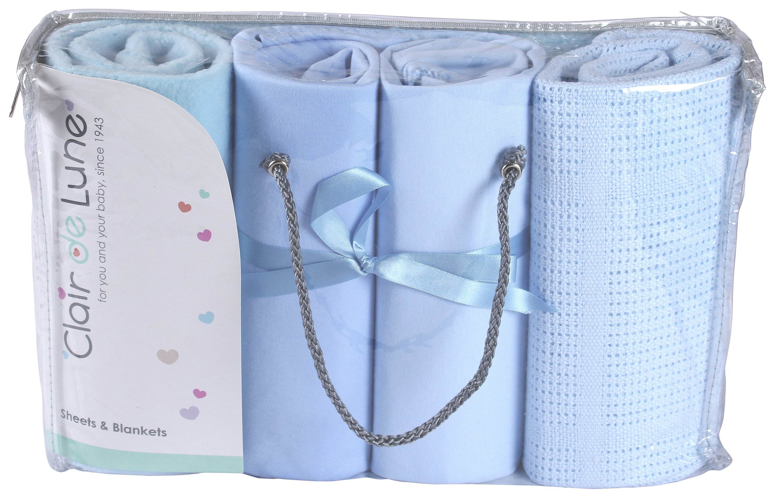 Image of Clair De Lune - 4 Piece - Bedding Bale to Fit Moses Basket-Blue