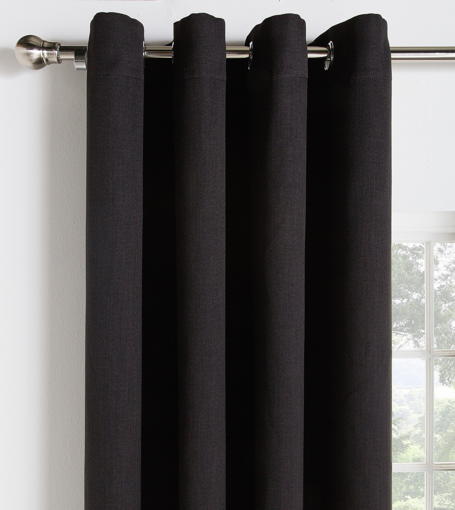 Collection Linen Look Blackout Curtains - 168x183cm - Black