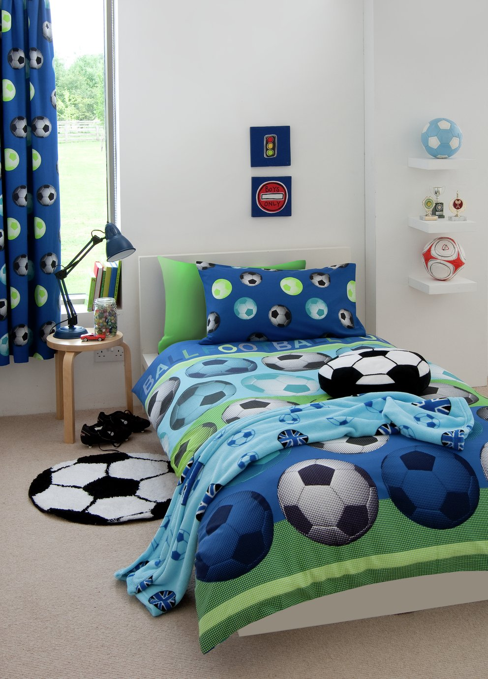Image of Catherine Lansfield Blue Football Bedding Set - Single