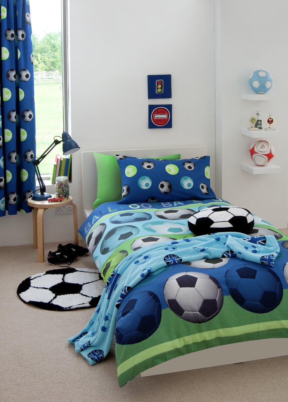 Catherine Lansfield Blue Football Bedding Set - Single