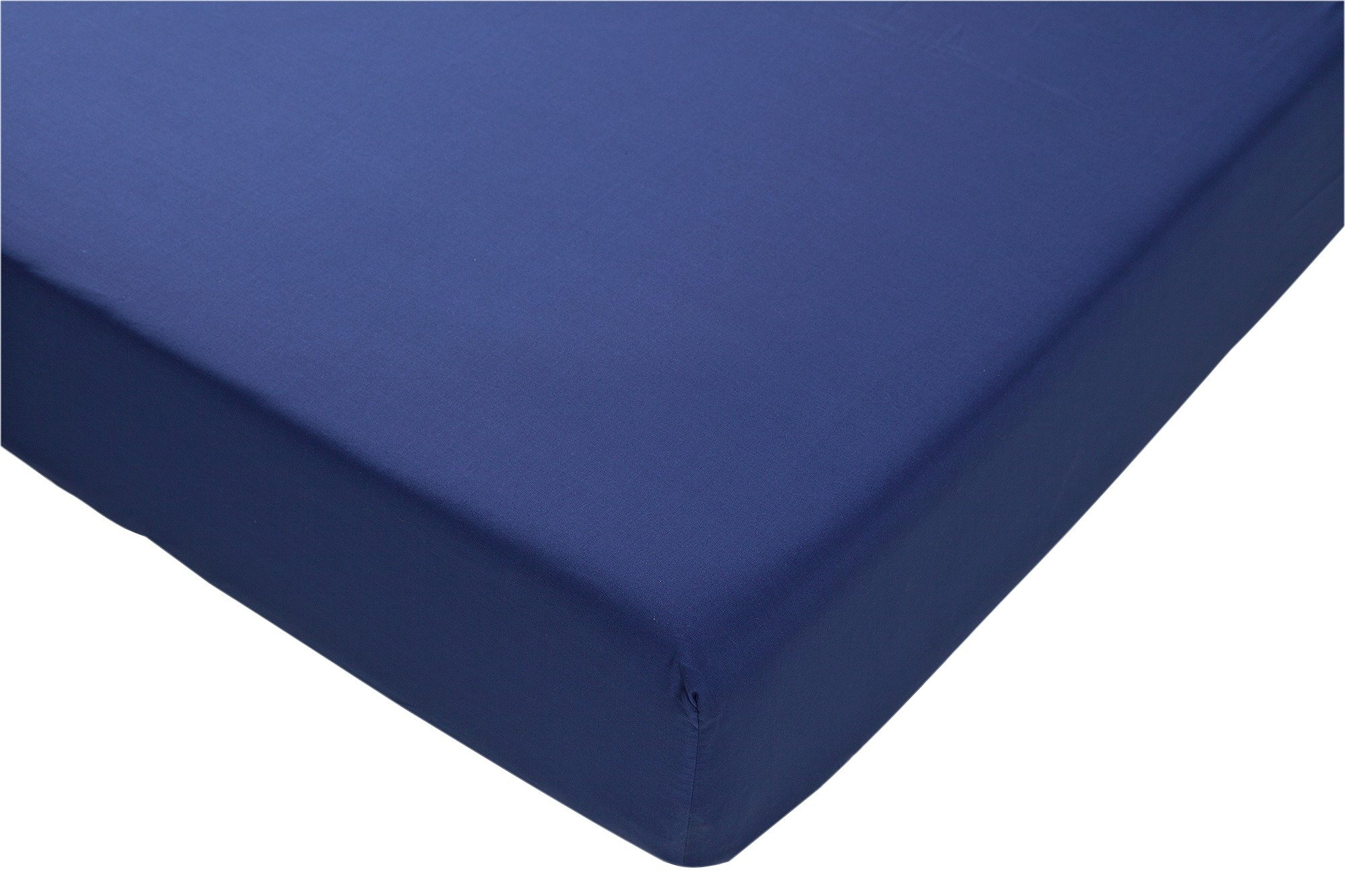 collection navy non iron fitted sheet  single