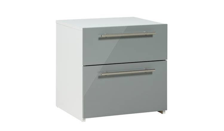Argos Home Atlas 2 Drawer Bedside Table - Grey Gloss