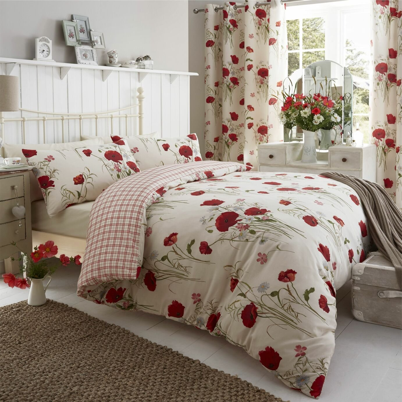 catherine lansfield wild poppies duvet cover set  double.