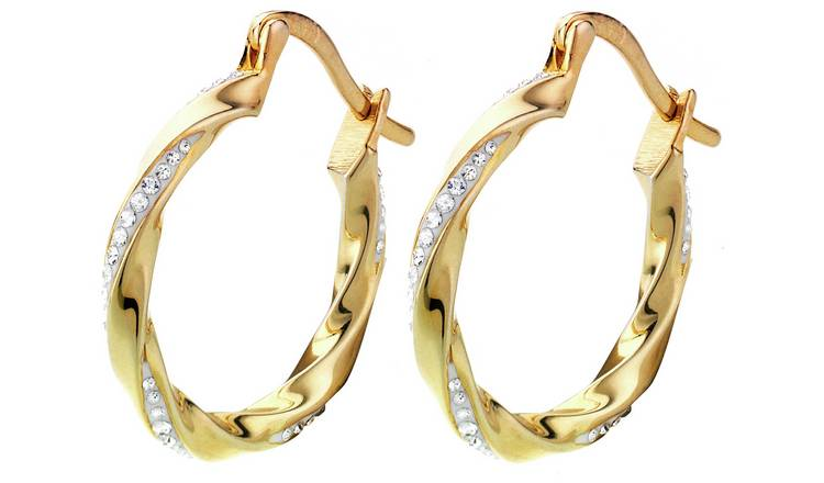 7cbcb93a7 Evoke 9ct Gold Plated Silver Crystal Creole Hoop Earrings618/3938