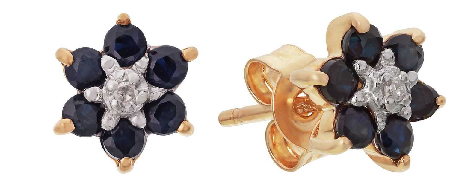 revere-9ct-gold-sapphire-diamond-accent-flower-studs
