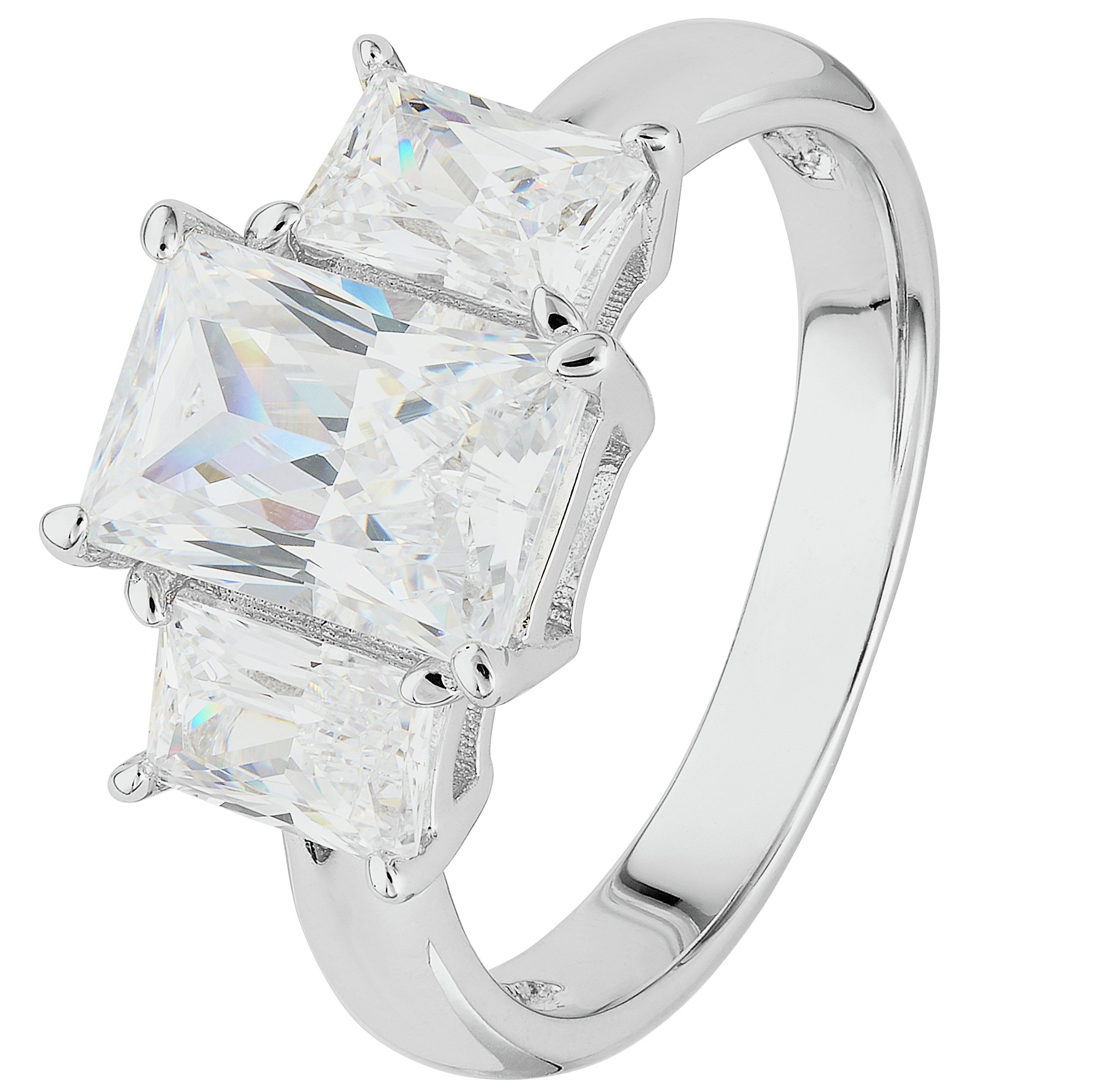 Revere Platinum Plated Silver 3 Stone CZ Baguette Ring