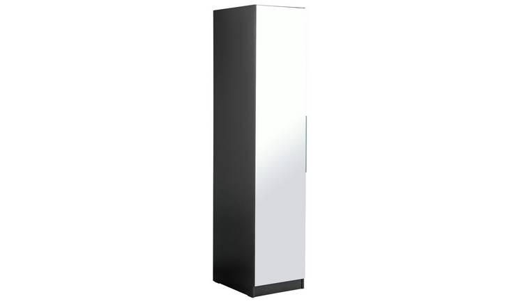281ef6c7521 Buy Argos Home Sandon Single Door Wardrobe - Black and Mirrored ...